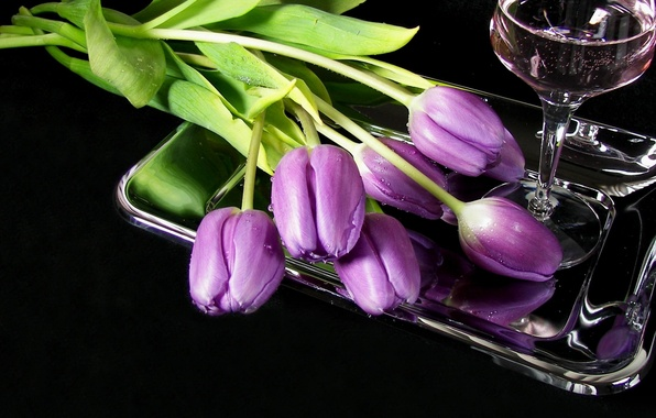 Picture flowers, wine, glass, tulips, tray