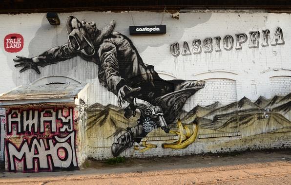 Picture wall, paint, graffiti, cowboy, Graffiti