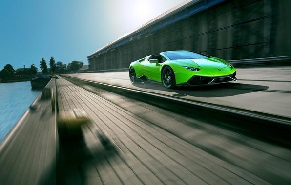 Picture car, auto, green, Lamborghini, supercar, in motion, Spyder, speed, Lamborghini, Novitec, Torado, Huracan