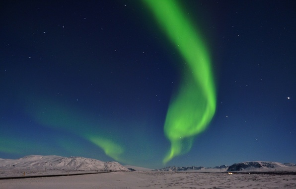 Picture road, the sky, stars, snow, mountains, Northern lights