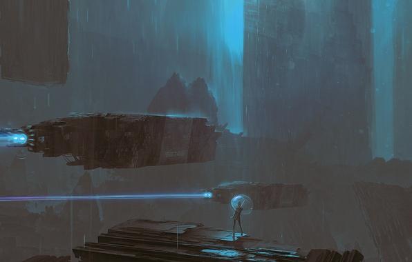 Picture girl, night, rain, transport, ships, umbrella, art, cyberpunk