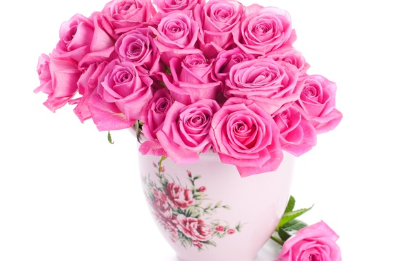 Picture roses, pink, pink, flowers, beautiful, vase, bouquet, roses
