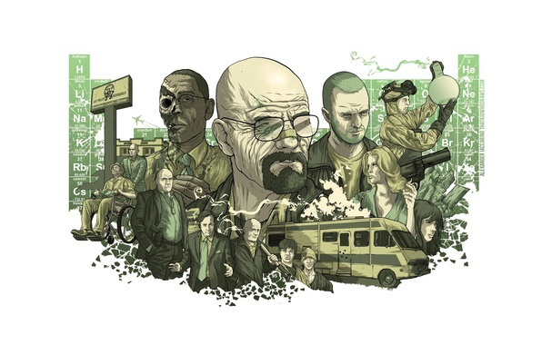 Picture collage, figure, the series, poster, characters, Breaking bad, Breaking Bad