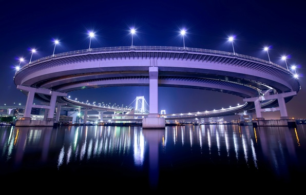 Picture night, bridge, lights, reflection, Japan, backlight, Tokyo, lights, Bay, capital