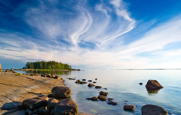 Picture the sky, clouds, trees, stones, blue, shore, island, Bay, Finland
