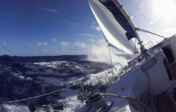 Picture sea, wave, the sky, mood, the situation, Yacht, day, sail, deck, Leer