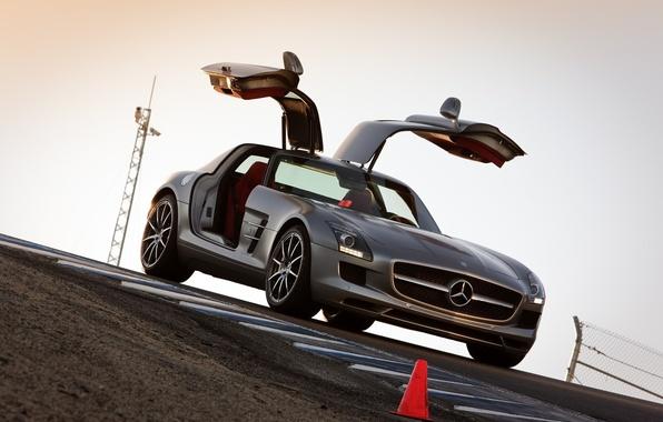 Picture road, auto, machine, door, Mercedes, mercedes sls