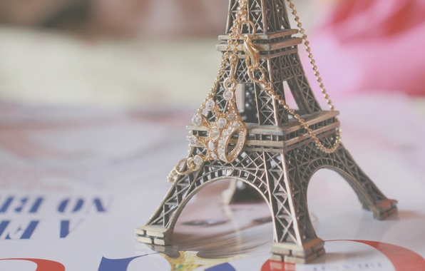 Picture background, Wallpaper, mood, Eiffel tower, Paris, crown, pendant, figurine, France