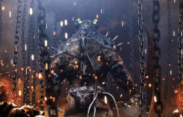 Picture machine, fire, model, robot, monster, spikes, skull, armor, chain, The REAPER