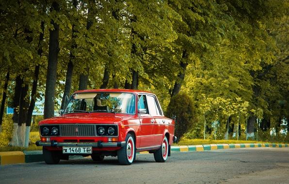 Picture road, trees, USSR, red, classic, Lada, vaz, VAZ, lada, Lada, 2103