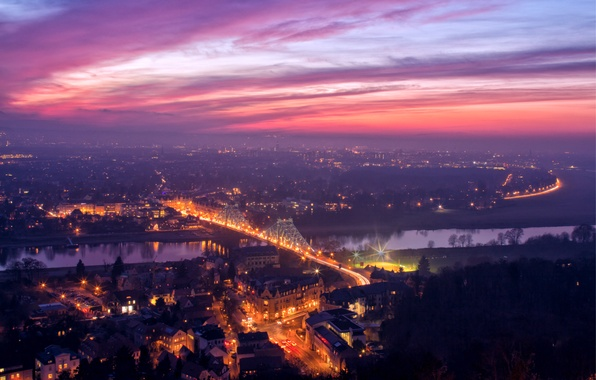 Picture sunset, orange, bridge, lights, river, view, height, the evening, Germany, Dresden, backlight, panorama, Elba