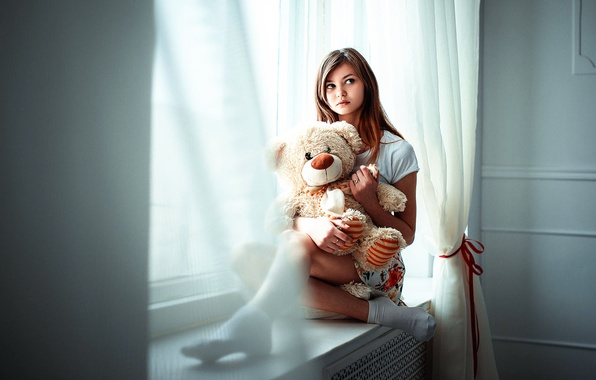 Photo wallpaper girl, toy, bear