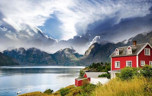 Picture landscape, mountains, lake, house, Norway, Norway, the fjord