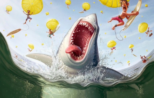 Picture people, shark, parachute