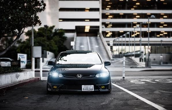 Picture black, honda, black, Honda, civic, front, civic, stance
