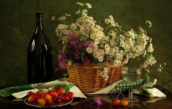 Picture flowers, wine, basket, glass, bottle, still life, chrysanthemum, cherry, napkin