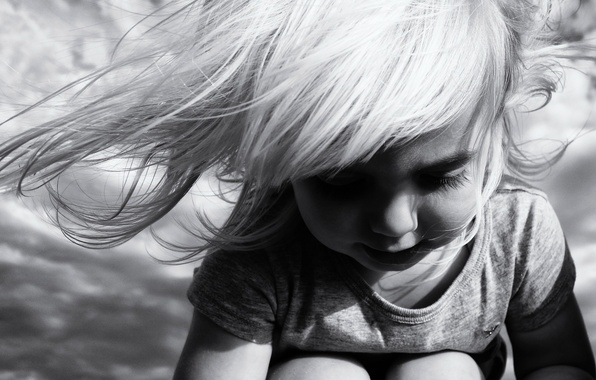 Picture the wind, hair, girl