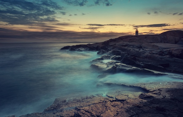Picture Sony, Blue, Coast, Wallpaper, Ocean, Lighthouse, Fog, Stock, Xperia