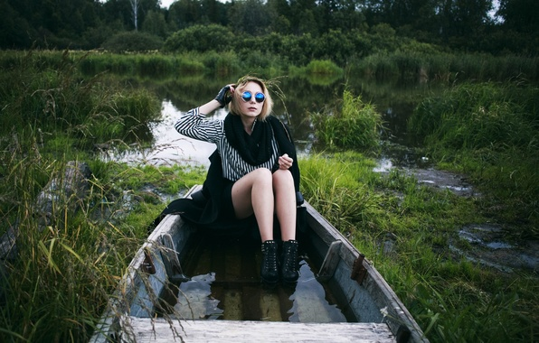 Picture girl, river, model, boat, shoes, scarf, glasses, hairstyle, blonde, shirt, legs, coat, water, russian, stylish, …