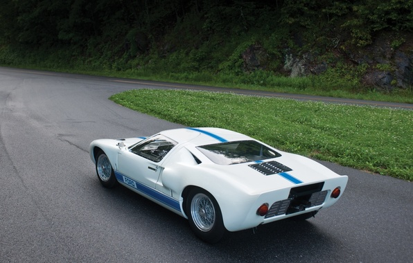 Picture forest, white, grass, Ford, turn, Ford, rear view, 1966, racing car, GT40, ГТ40