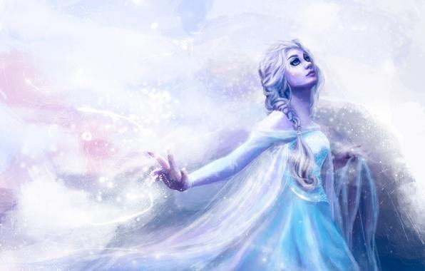 Picture cold, look, girl, snow, hair, hand, makeup, dress, art, braid, Frozen, Blizzard, Walt Disney, Snow …