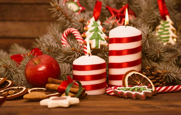 Picture snow, decoration, balls, candles, New Year, Christmas, Christmas, Xmas, cookies, decoration, Merry