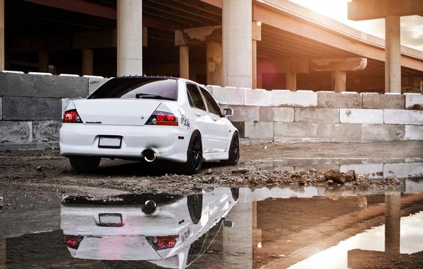 Picture white, reflection, construction, puddle, mitsubishi, lancer, evolution, evo, Lancer, Mitsubishi