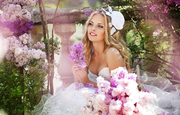Picture flowers, blonde, the bride, lilac