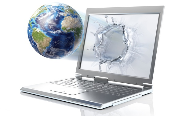 Picture water, drops, rendering, earth, planet, laptop, monitor