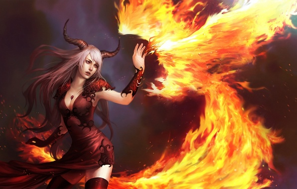 Picture girl, fire, bird, the demon, art, horns, Phoenix, demoness