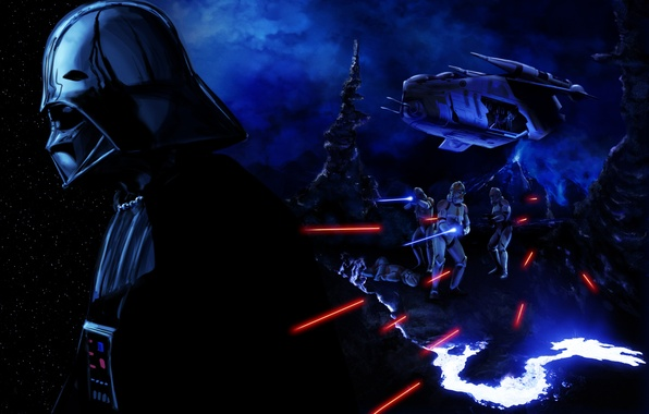 Picture Star Wars, villain, helmet, darth vader, art, stormtrooper