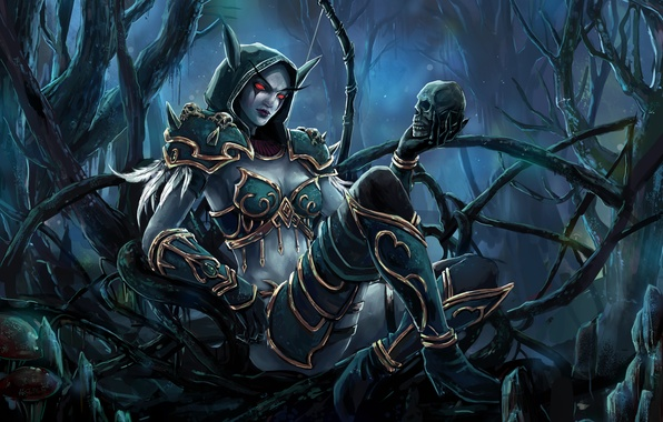 Picture forest, girl, skull, thicket, bow, art, elf, wow, world of warcraft, Sylvanas