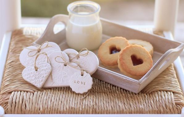 Picture love, heart, food, milk, cookies, love, cake, i love you, heart, food, sweet, milk, biscuits