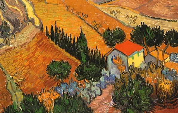 Picture field, trees, landscape, house, picture, Vincent Van Gogh