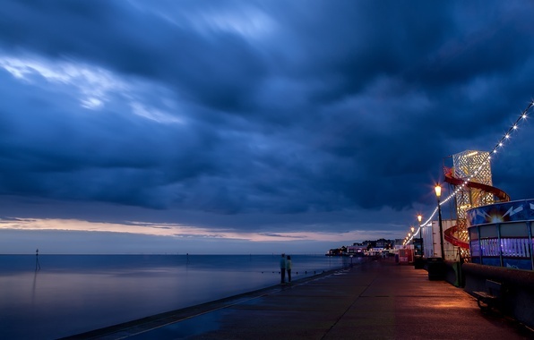 Picture sea, the sky, clouds, landscape, night, blue, nature, the ocean
