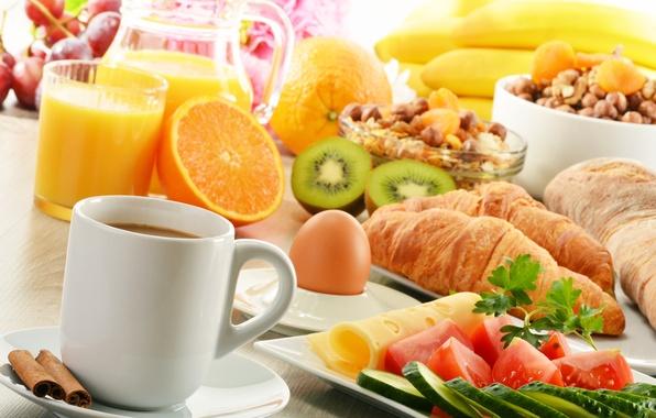 Picture coffee, food, oranges, Breakfast, cheese, kiwi, juice, fruit, cinnamon, vegetables, tomatoes, cucumbers, croissants, muesli
