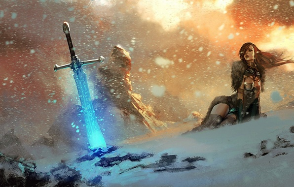 Picture snow, rocks, fire, magic, Girl, sword, runes