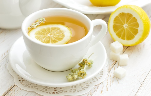 Picture lemon, tea, mug, sugar, saucer
