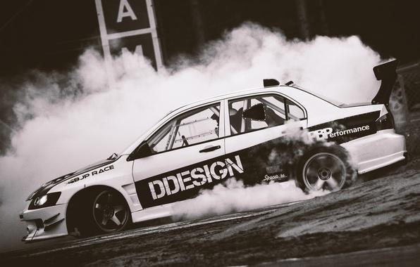 Picture Mitsubishi, drift, drift, smoke, evolution, evo, Mitsubishi, cramps