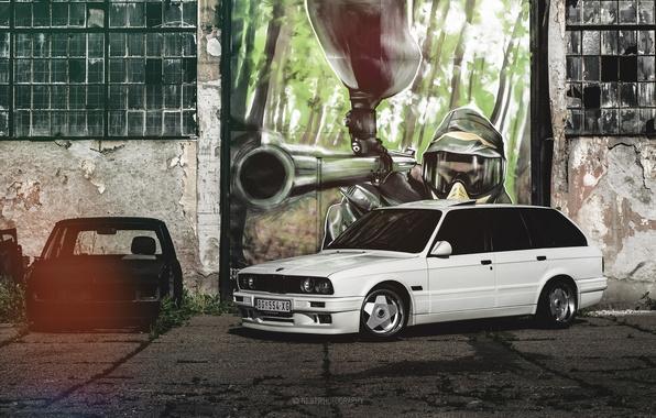 Picture BMW, BMW, white, grafiti, E30, universal, 325i