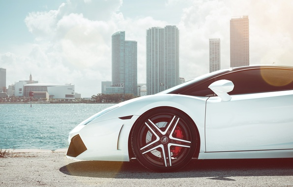 Picture tuning, white, supercar, the front, lamborghini gallardo, Lamborghini