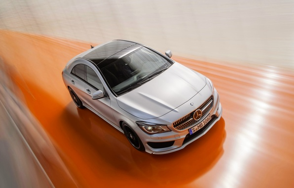 Picture Mercedes-Benz, Auto, Mercedes, Grey, The hood, in motion, Class, CLA