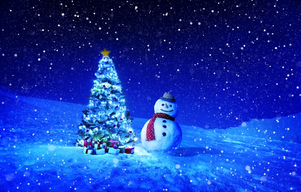 Picture winter, snow, snowflakes, night, holiday, toys, tree, gifts, New year, snowman