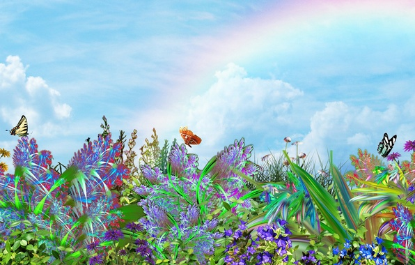 Picture the sky, butterfly, flowers, mood, rainbow, art, Nature, Landscape.