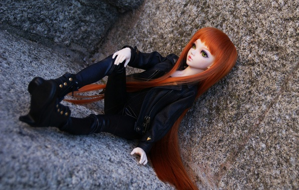 Picture clothing, stone, toy, doll, black, red, sitting, view, long hair