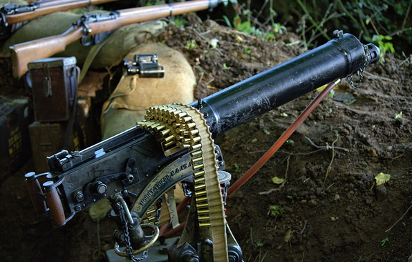 Picture weapons, machine gun, the trench, tape cartridges