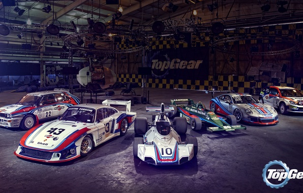 "Photo wallpaper Top Gear, Porsche 935/78 ""Moby Dick"", Brabham BT44, Porsche 911 GT3 Cup, Ford Focus WRC, ..."