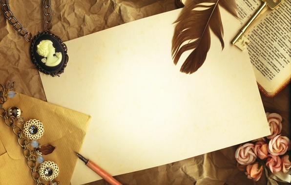 Picture paper, pen, key, book, vintage, vintage, cameo