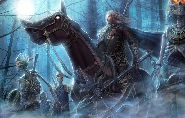 Picture forest, night, weapons, horse, art, rider, skeletons, undead, burning eyes