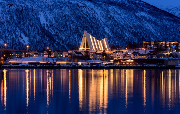Picture winter, snow, trees, mountains, night, city, the city, lights, lights, home, lighting, Norway, trees, night, …